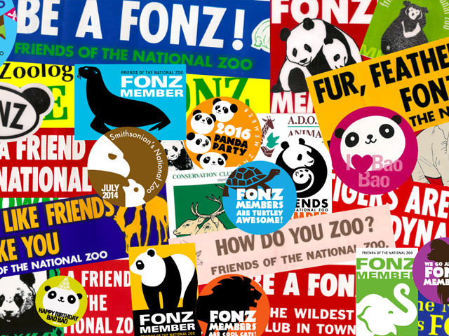 photo collage of FONZ stickers