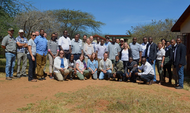 group photo from rhino conservation workshop in Kenya
