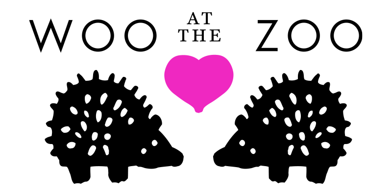 graphic of two pink hedgehogs with the words woo at the zoo